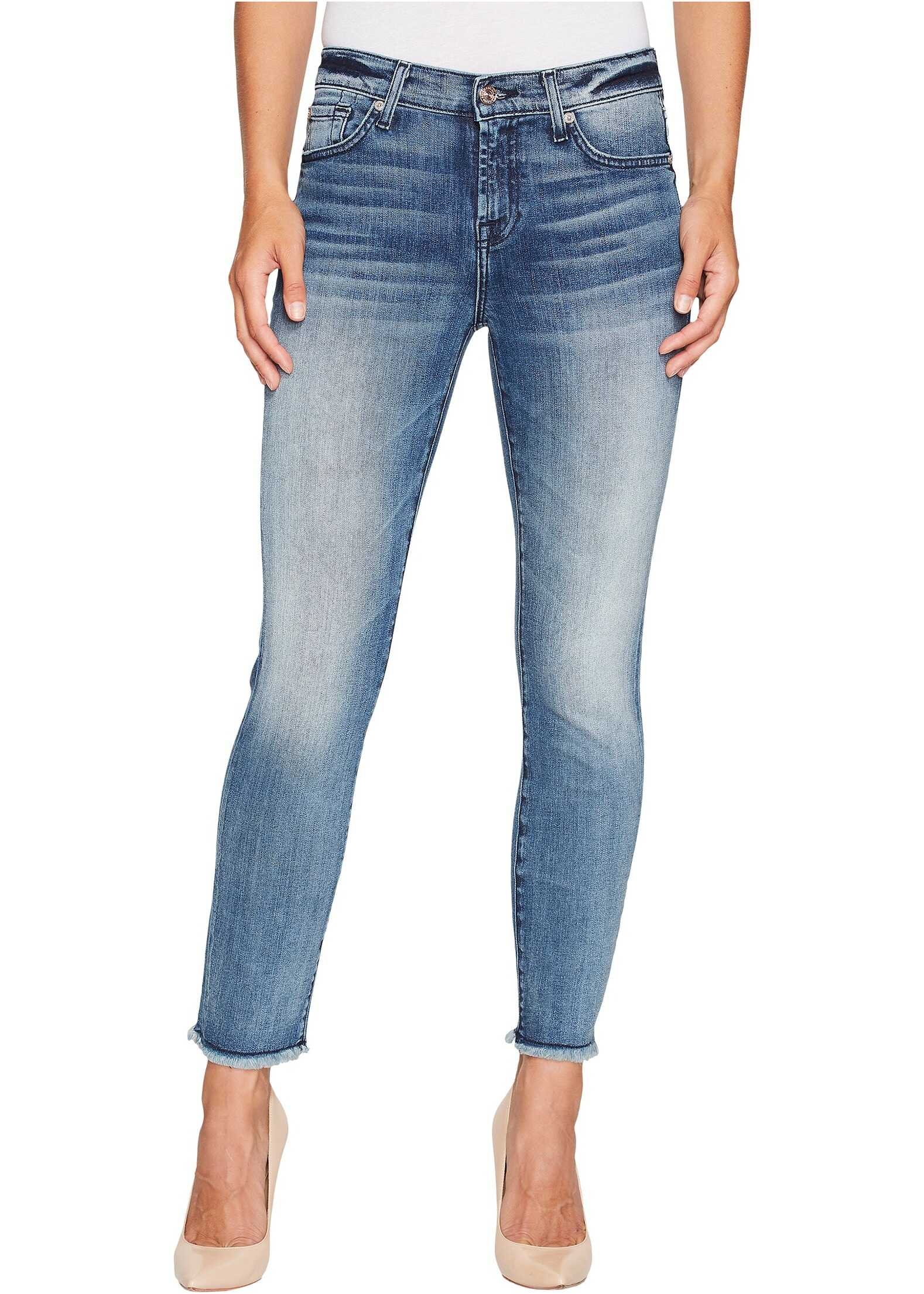 7 For All Mankind Roxanne Ankle w/ Raw Hem in Wall Street Heritage Wall Street Heritage