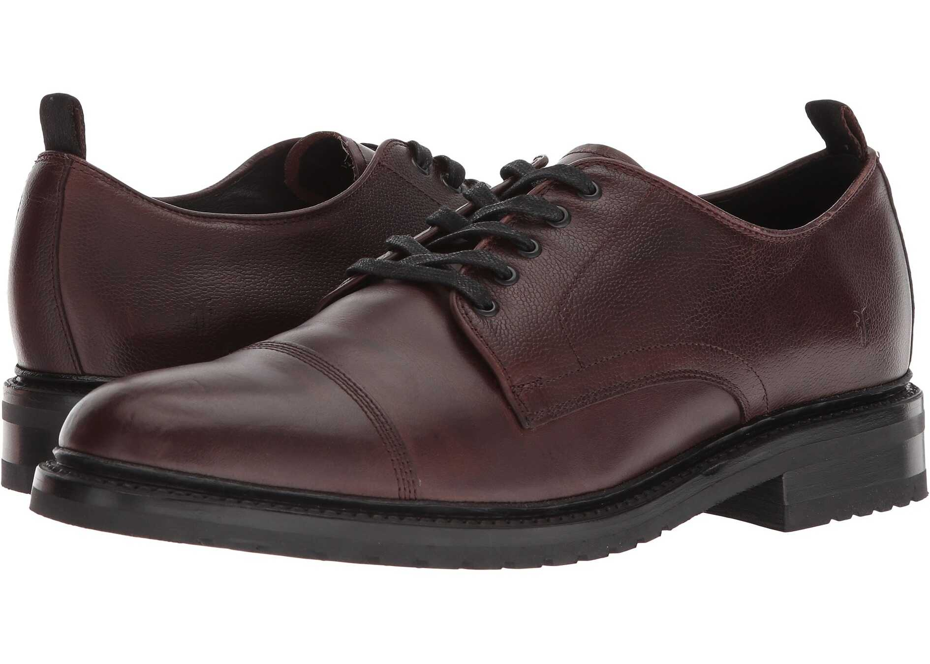 Frye Officer Oxford Brown Smooth Pull Up/Scotch Grain