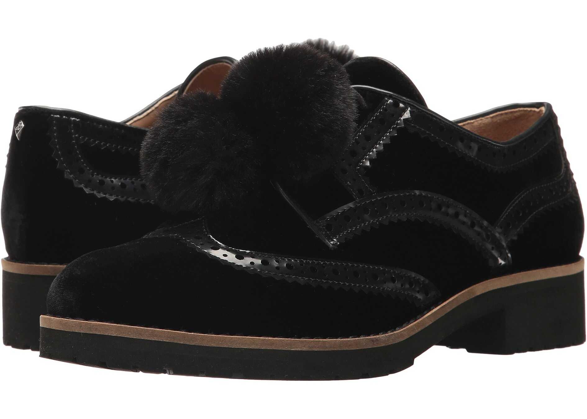 Sam Edelman Dahl Black Silky Velvet/Brush-Off Box Leather