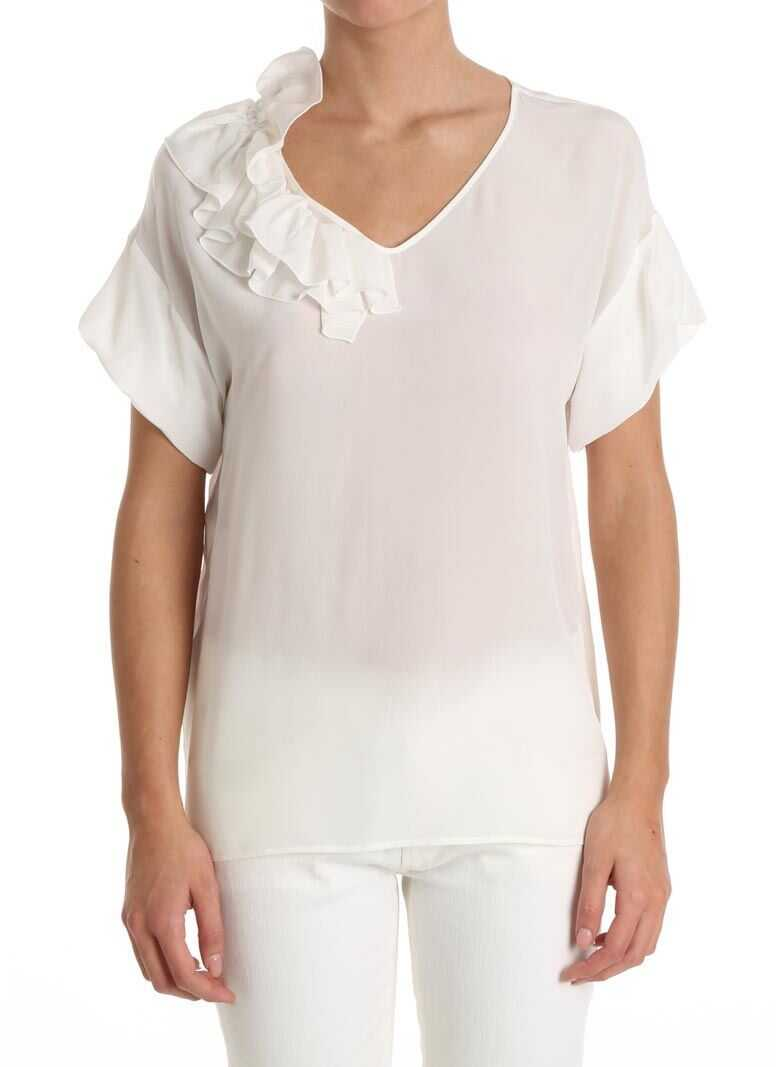 White Silk Top With Ruffles