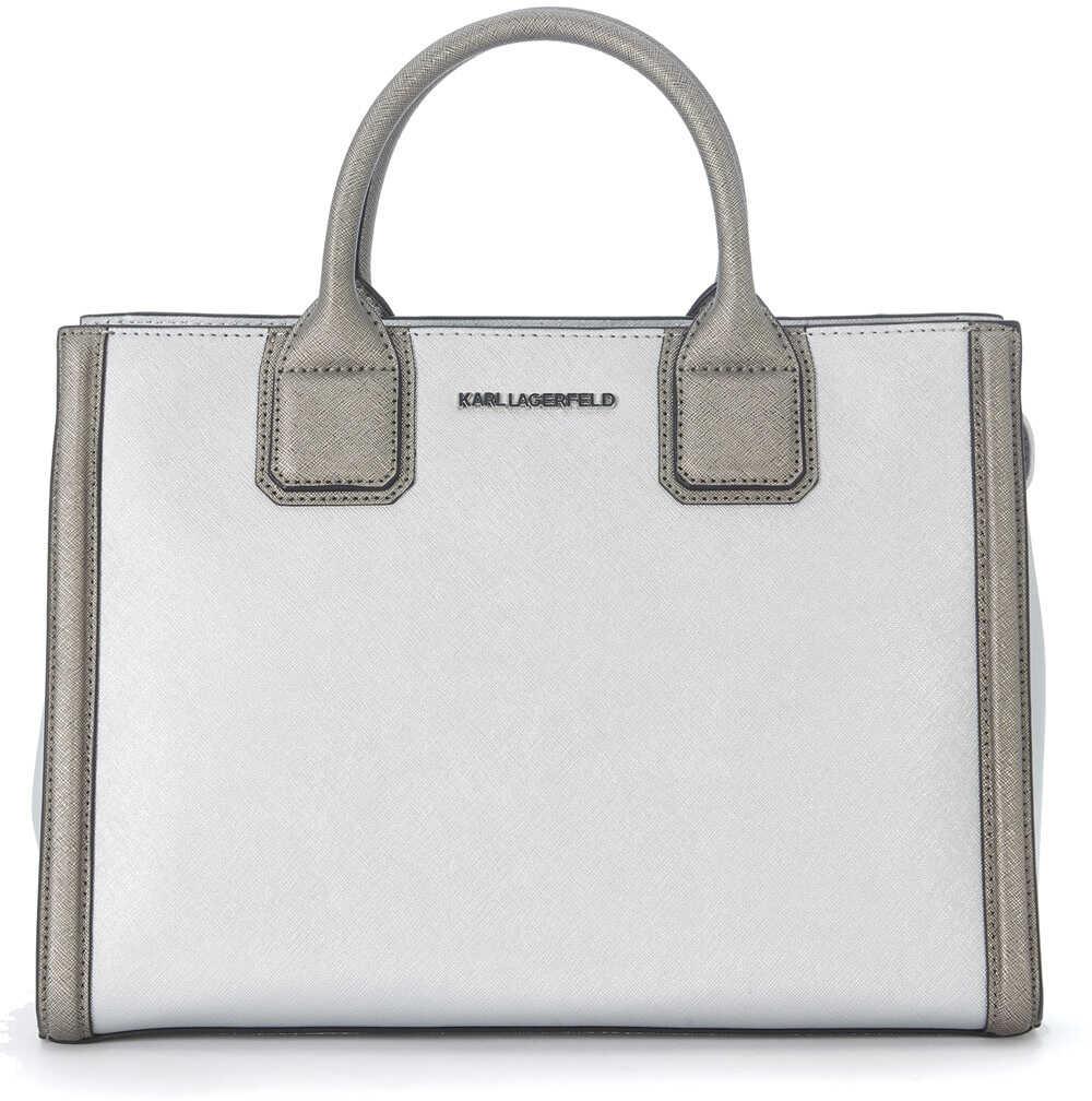 Karl Lagerfeld Klassic Silver Saffiano Leather Handbag Silver