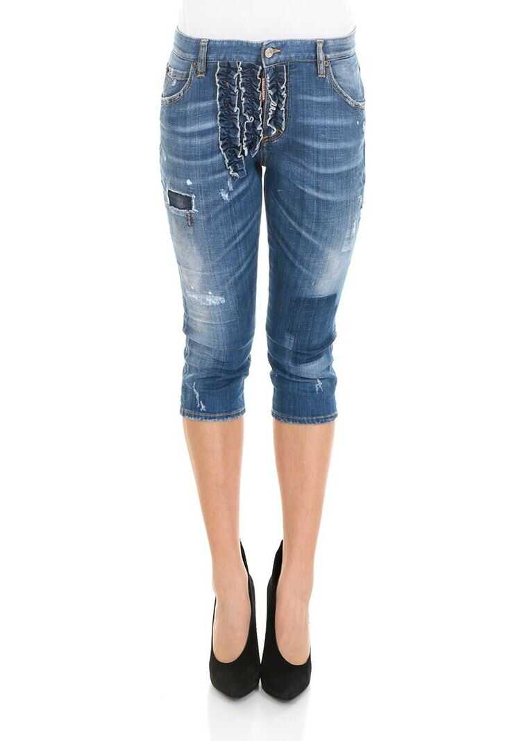 DSQUARED2 Slouch Pedal Pusher Jeans Blue