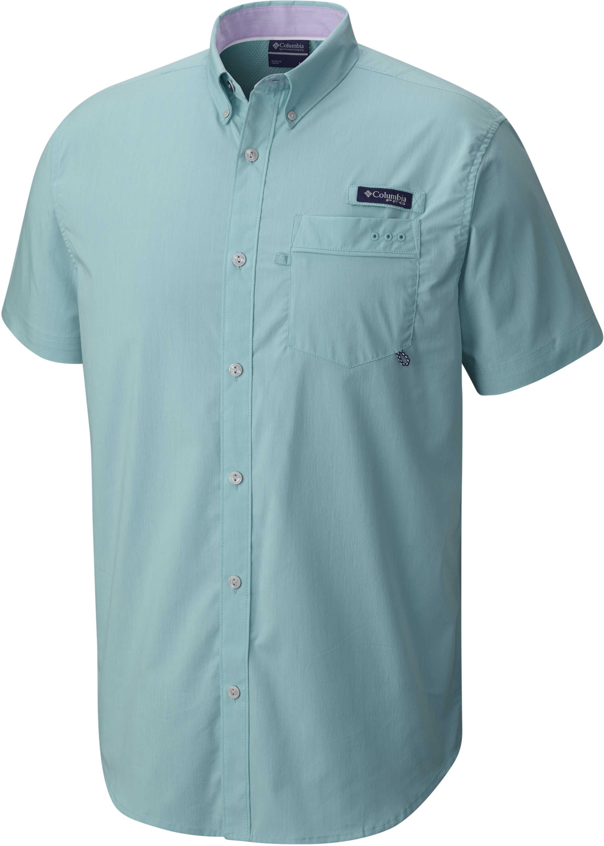 Columbia PFG HARBORSIDE™ WOVEN SHORT SLEEVE SHIRT-Bright Peach, Vivid Blue Moxie, Hydrangea