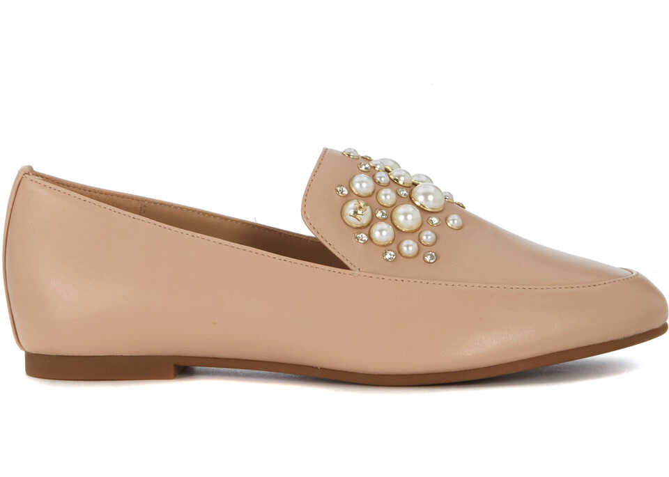 Michael Kors Gia Pale Pink Flat Shoes With Pearls Pink