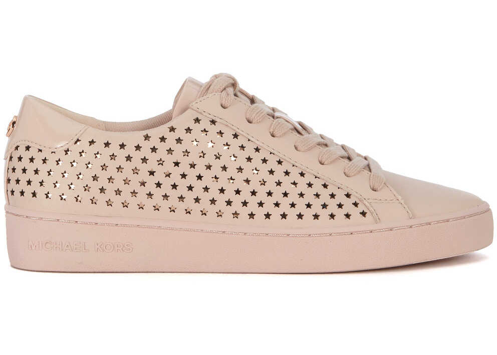 Michael Kors Irving Pink Leather Sneaker With Micro Stars Pink