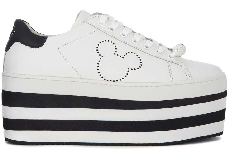 Moa Mickey Mouse White Leather Sneaker With Platform White