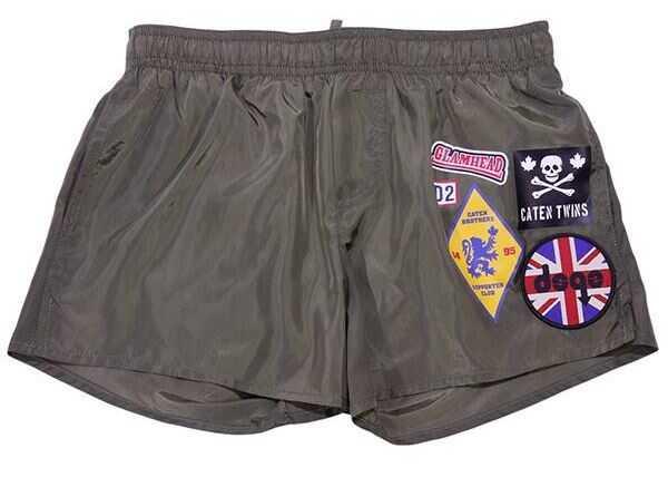 Pantaloni Scurti Baieti DSQUARED2 Army Green Printed Swimsuit