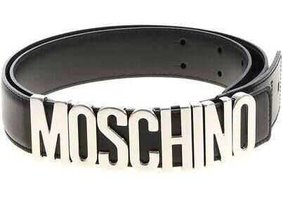 Moschino Moschino Black Belt With Silver Logo Black