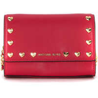 Genti Plic Ruby Ultrapink Leather Shoulder Bag With Heart Studs Femei