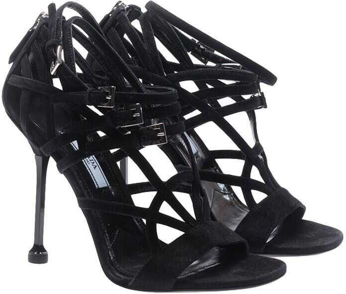 Prada Black Woven Sandals With Straps Black