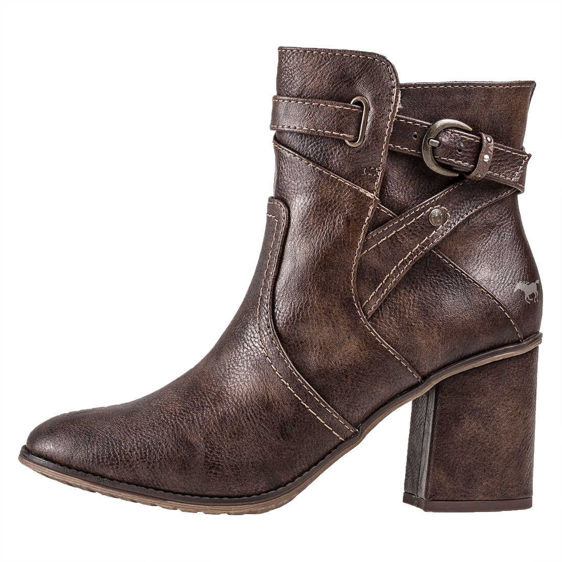 Mustang Heeled Ankle Boots In Brown Brown