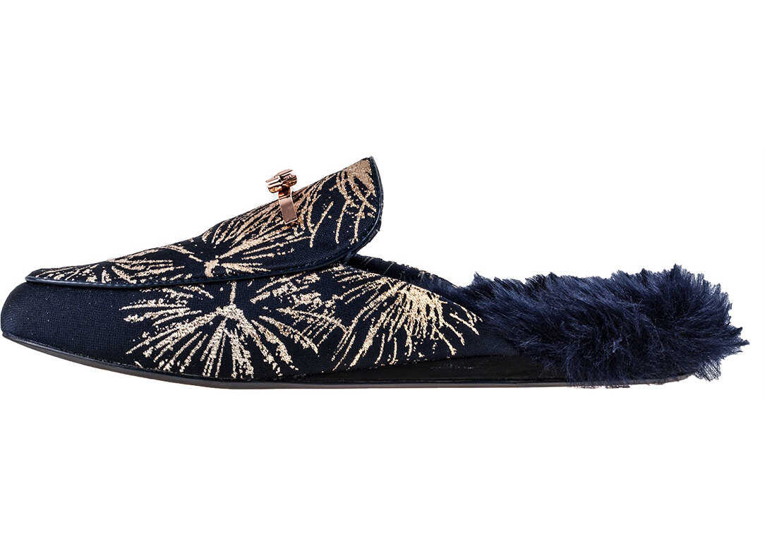 Ted Baker Kerriy Stardust Fur Slip On In Navy Gold thumbnail