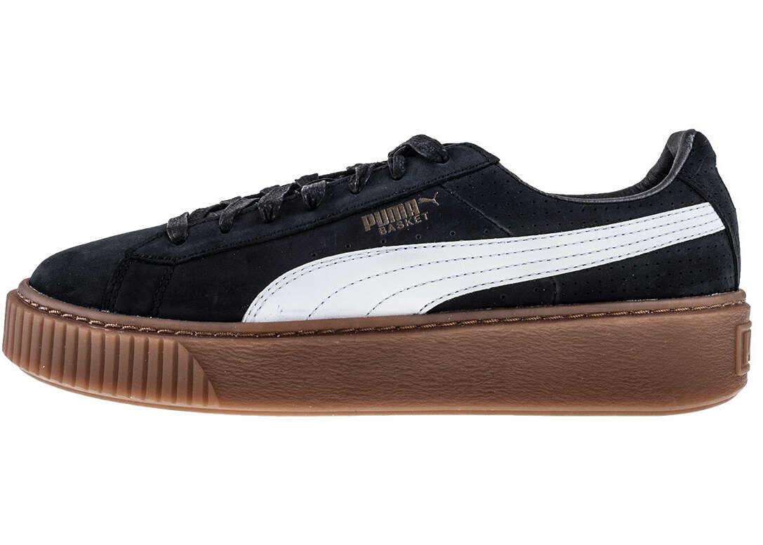 PUMA Basket Platform Perf Gum Trainers In Black White thumbnail