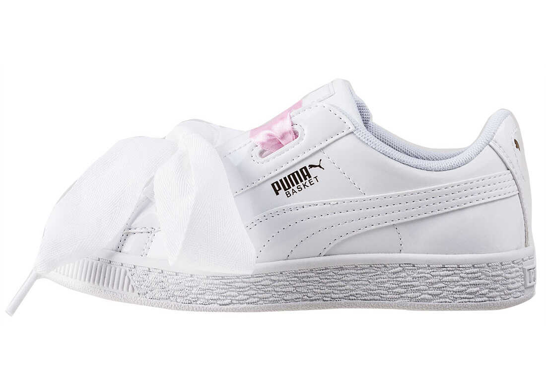 PUMA Basket Heart Patent Toddler Trainers In White White White