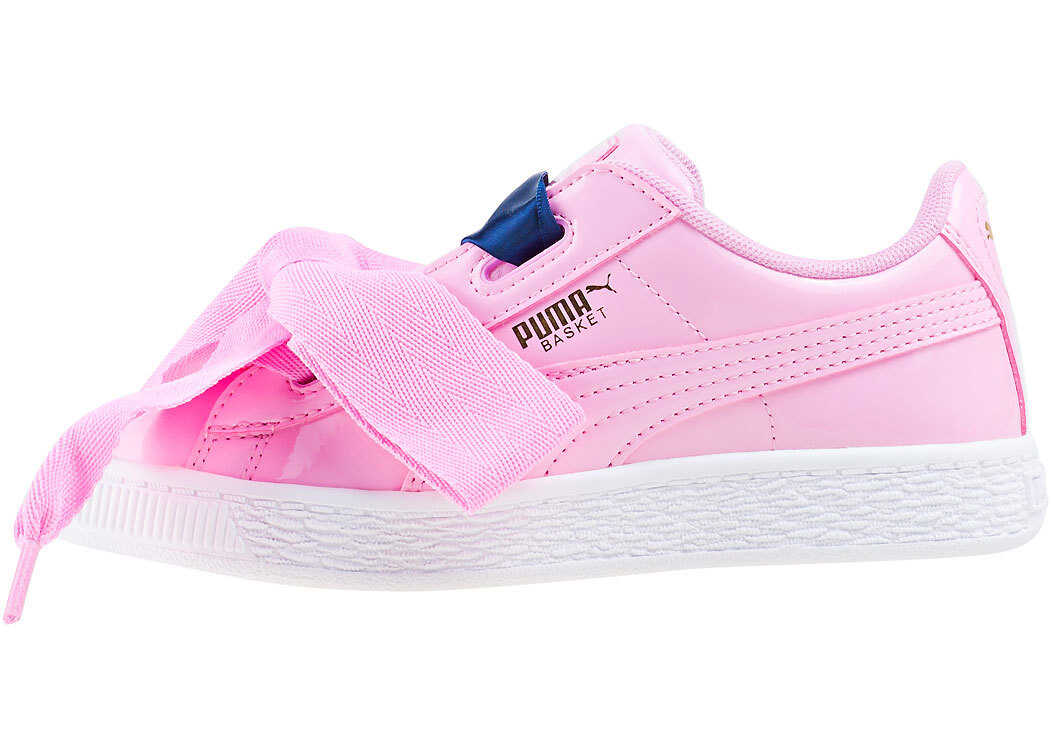 PUMA Basket Heart Patent Toddler Trainers In Pink Pink