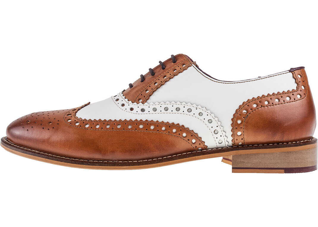 London Brogues Handcrafted Gatsby Brogues In Tan White Tan
