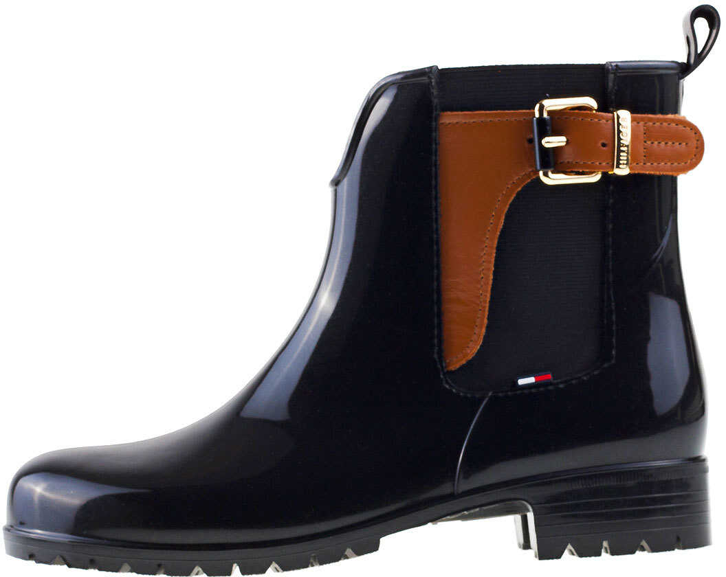 Tommy Hilfiger Oxley 2Z2 Wellington Boots In Black Tan thumbnail