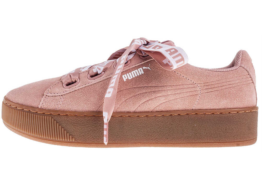 PUMA Vikky Platform Ribbon Bold Trainers In Pink Peach thumbnail