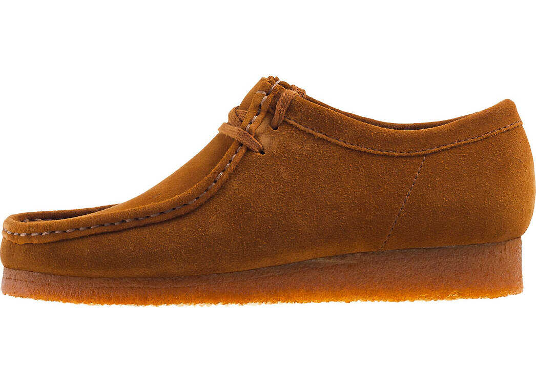 Clarks Wallabee Shoes In Cola Suede Bronze