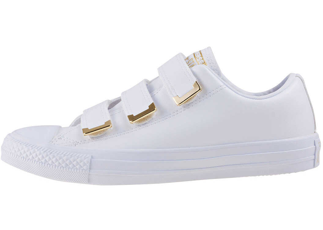Converse Chuck Taylor All Star 3V Ox Trainers In White Gold thumbnail