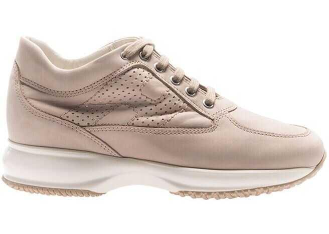 Hogan Beige Leather Interactive Sneakers Beige