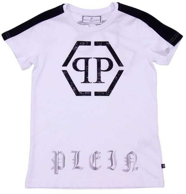 Philipp Plein White Printed T-Shirt With Rhinestones White