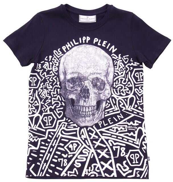 Philipp Plein Black Printed T-Shirt With Rhinestones Black