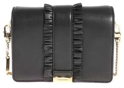 Michael Kors Black Leather Gusset Clutch Bag With Ruffles Black