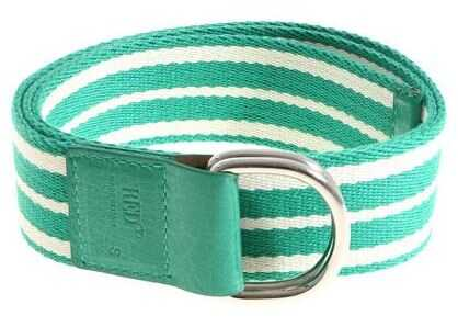 Leisured Green And White Striped Belt
