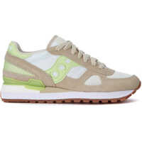 Tenisi & Adidasi Saucony Shadow Beige Suede, White Mesh And Green Leather Sneakers