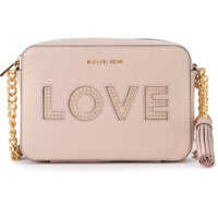 Genti de Mana Michael Kors Ginny Pink Leather Shoulder Bag With Love Writing And Studs.