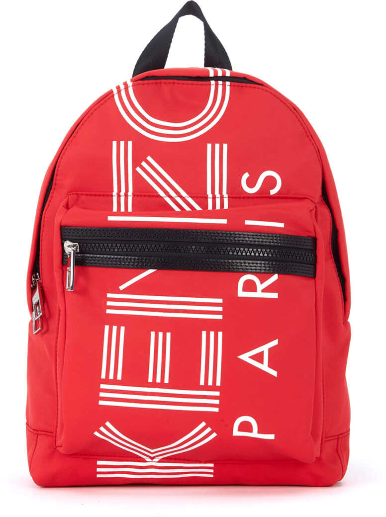 Kenzo In Red And White Nylon Backpack Red