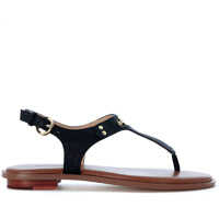 Sandale Michael Kors Plate Thong Sandal In Black Saffiano Leather