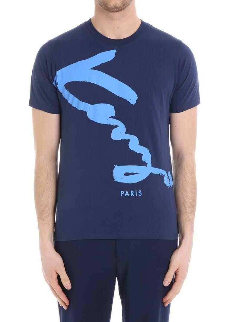 Kenzo Signature Blue T-Shirt Blue