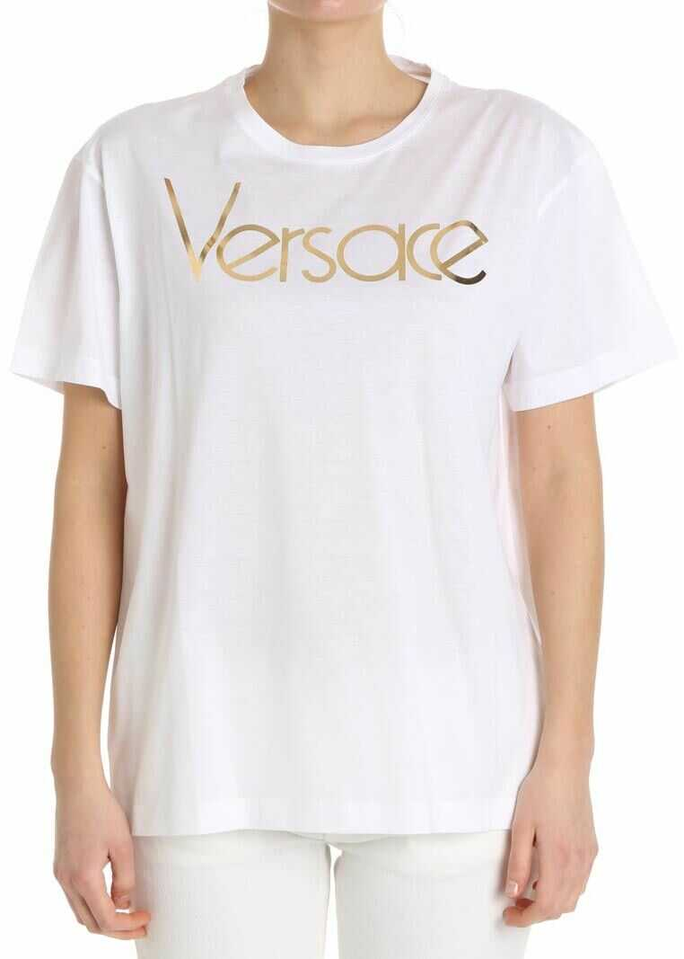 Versace White T-Shirt With Golden Logo White