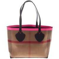 Genti de Mana Burberry Black And Fuchsia Reverible Midi Tote Bag