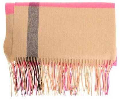 Burberry Beige And Pink Cashmere Oversize Scarf Pink