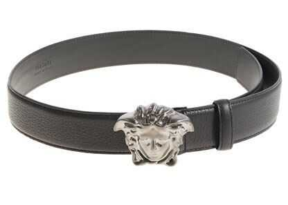 Versace Black Leather Belt With Silver Buckle Black