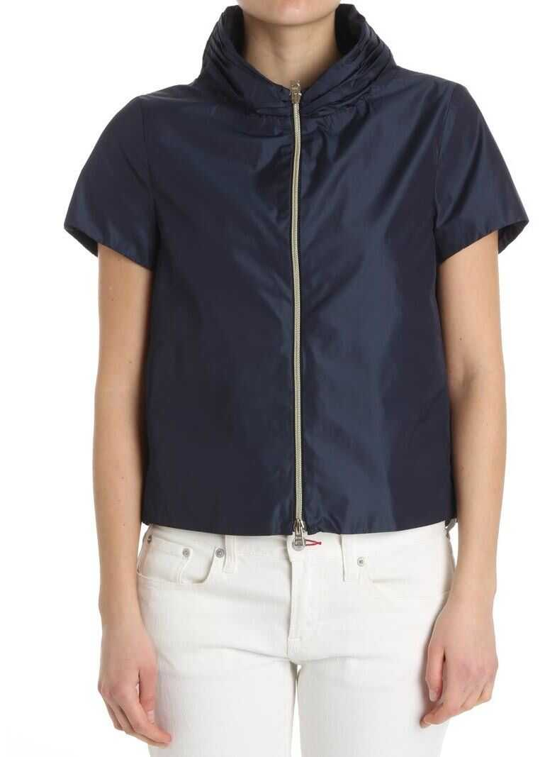 Herno Blue Flared Jacket With Short Sleeves Blue