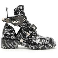 Ghete & Cizme Brushed Leather Boots With Tattoo Print Femei
