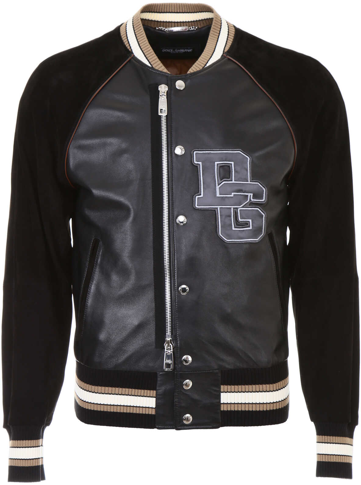 Dolce & Gabbana Leather Bomber Jacket With Patch NERO