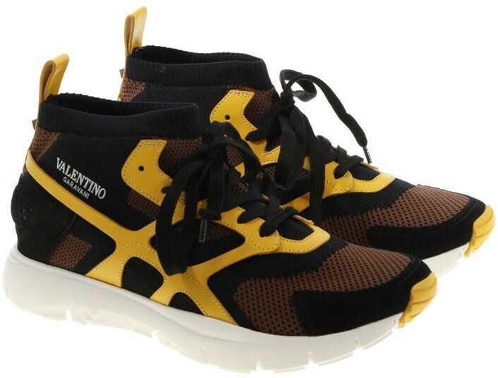 521e4e1931417a Tenisi   Adidasi Barbati Valentino Garavani Suond High Sneakers With Yellow  Details
