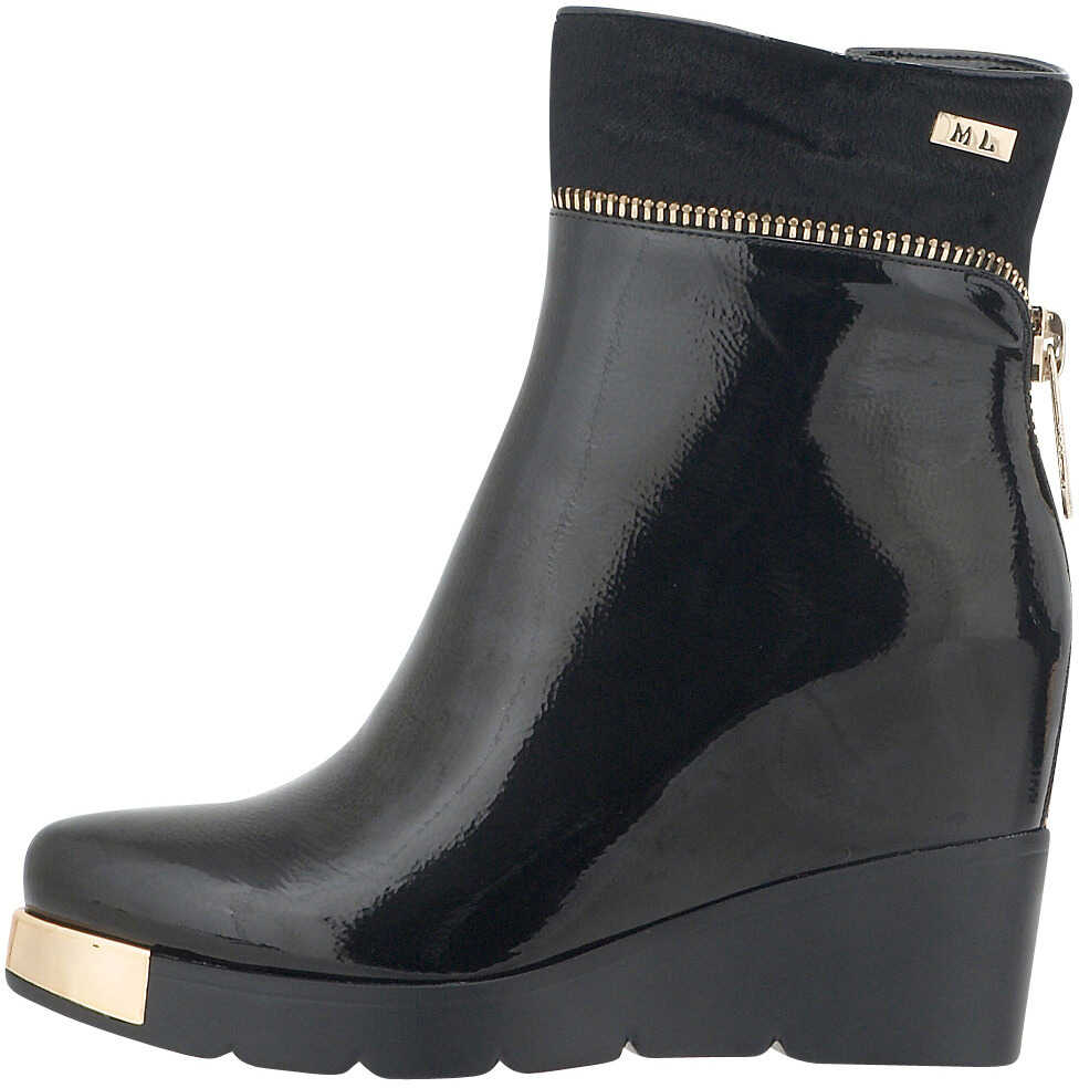 Nikki Me Womens Dress Patent Wedged Boots In Black Color Black