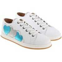 Sneakers Twin-set Simona Barbieri White Sneakers With Light Blue And Gray Hearts