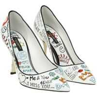 Incaltaminte Dolce & Gabbana White Pointy Pumps With Murales Print