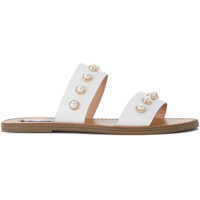 Sandale Steve Madden Jole White Leather Sandal With Pearls