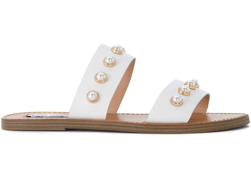 Steve Madden Jole White Leather Sandal With Pearls White