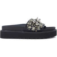 Sandale Steve Madden Pebbles Black Eco Leather Slipper With Crystals