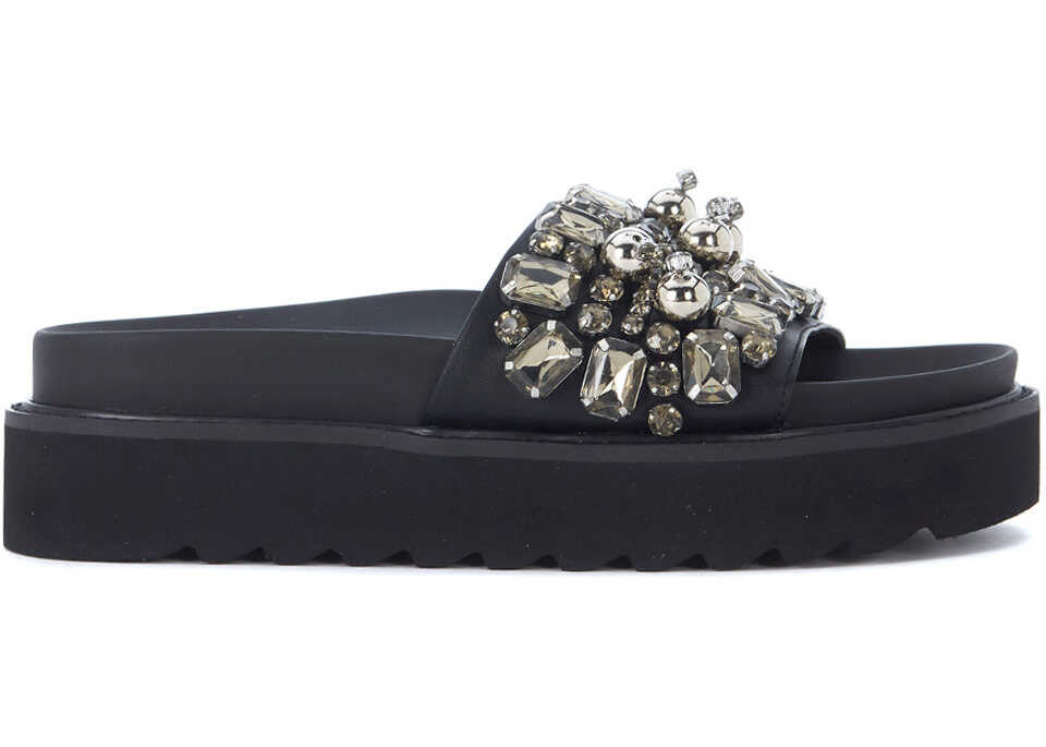 Steve Madden Pebbles Black Eco Leather Slipper With Crystals Black