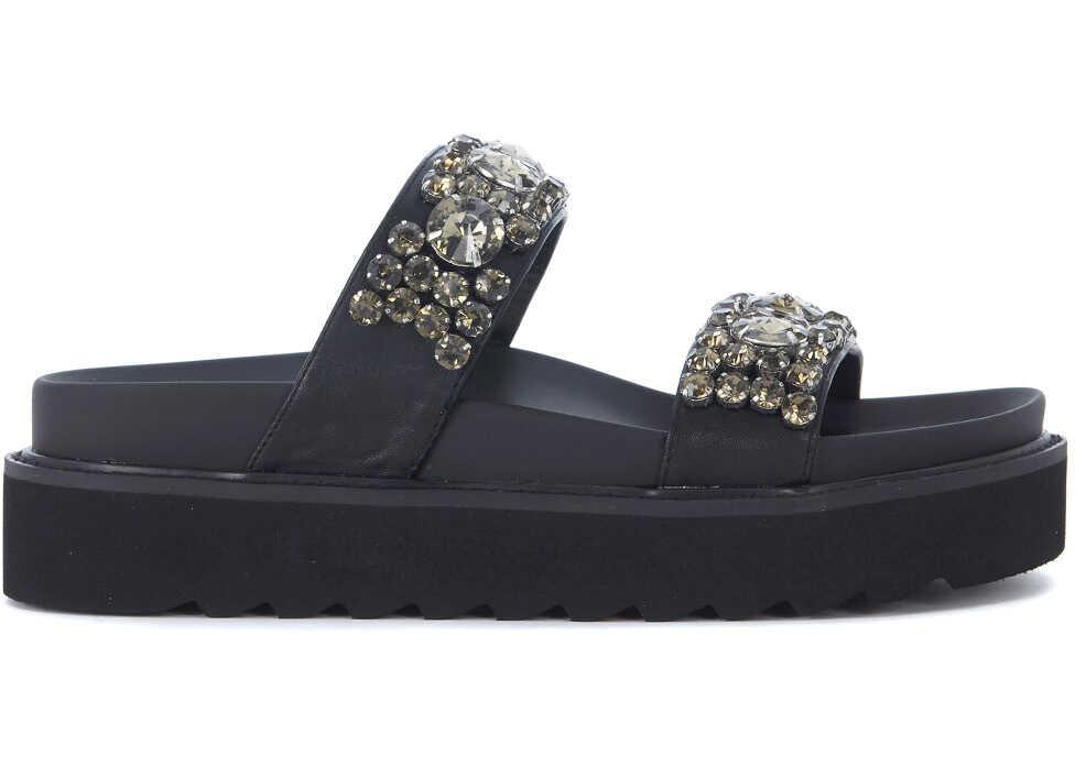 Steve Madden Peigi Black Eco Leather Slipper With Crystals Black
